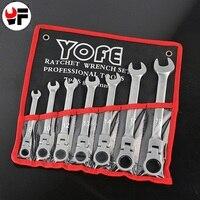 7 YOFE pçs/set Chave Chave Wrench Spanner Cabeça Flexível Ratchet Wrench Tool Kit Para O Carro de UM Conjunto de Ferramentas Chaves chave de fenda Para O Reparo Do Carro|kit for car|wrench tool kit|tool kit -