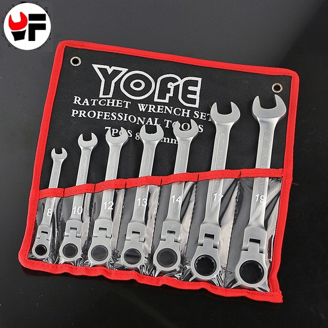YOFE 7pcs/Set Key Wrench Flexible Head Ratchet Wrench Tool Kit For Car Wrench Spanner A Set of Keys Tools Wrench For Car Repair