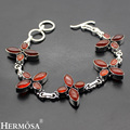 "Hermosa Jewelry Beautiful flower type Genuine Red Agate 925 Sterling Silver Chain Bracelets 8.5"" HF556"