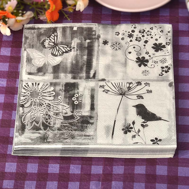 New Food-grade table paper napkins tissue flower bird butterfly black white vintage decoupage wedding party festive decorative