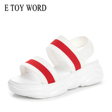E TOY WORD Sandals women 2019 New Summer Women Comfortable Striped flying woven Shoes Sports Casual Platform