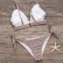 Free Shipping New Women Bikini Striped Bottom Vintage