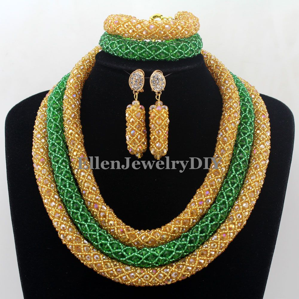 Handmade Statement Necklace Crystal Women Necklaces Costume Jewelry Nigerian Wedding beads African Beads Jewelry Set W12689 fashion vintage statement necklace nigerian wedding african beads jewelry set costume jewelry sets beads statement necklace