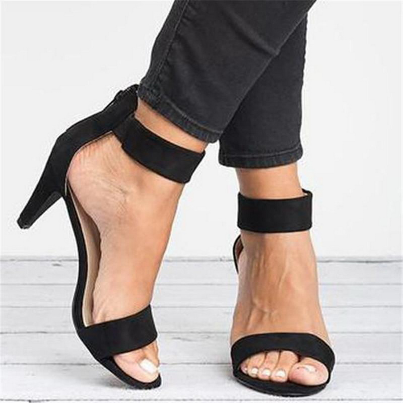 Monerffi Summer Shoes Strap Buckle Heel Open-Toe Female with 5CM Sandals Zapatos-De-Mujer