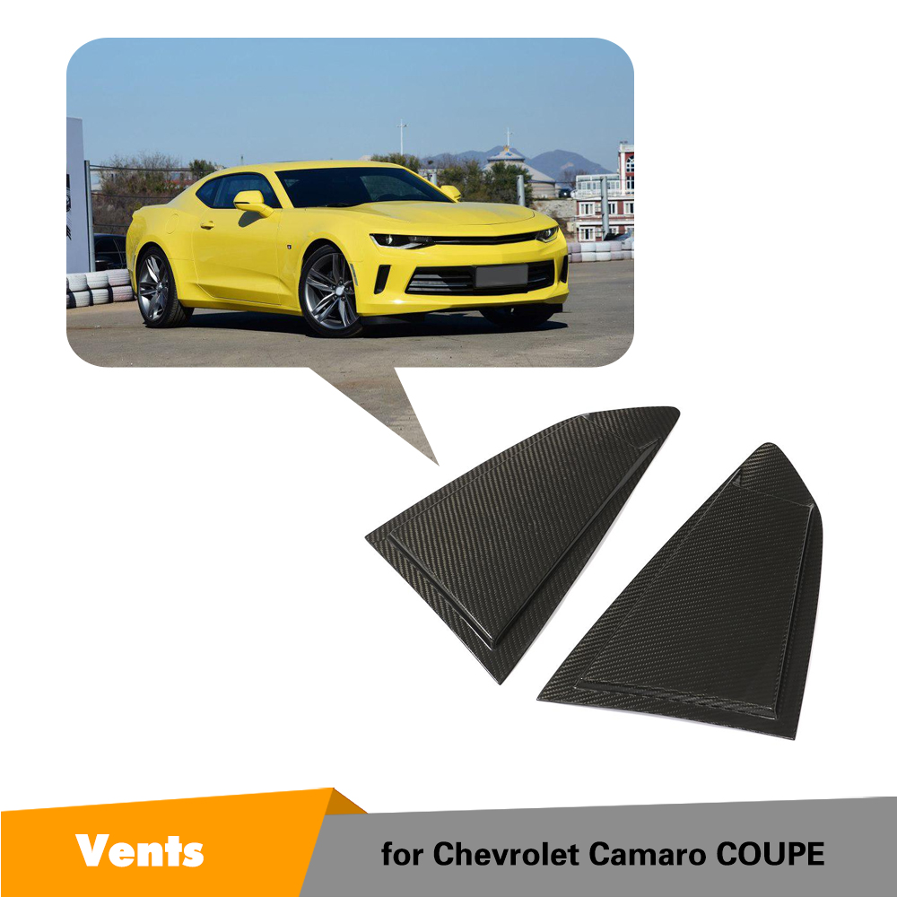 For Chevrolet Camaro 2016 2019 Carbon Fiber Rear Side Window Scoop Louver Trim Air Vent