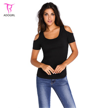 Echoine Summer T-shirt Women Cold Shoulder Short Sleeve Tshirt Casual Plus Size XXL Low Cut Shirt Tops Poleras De Mujer
