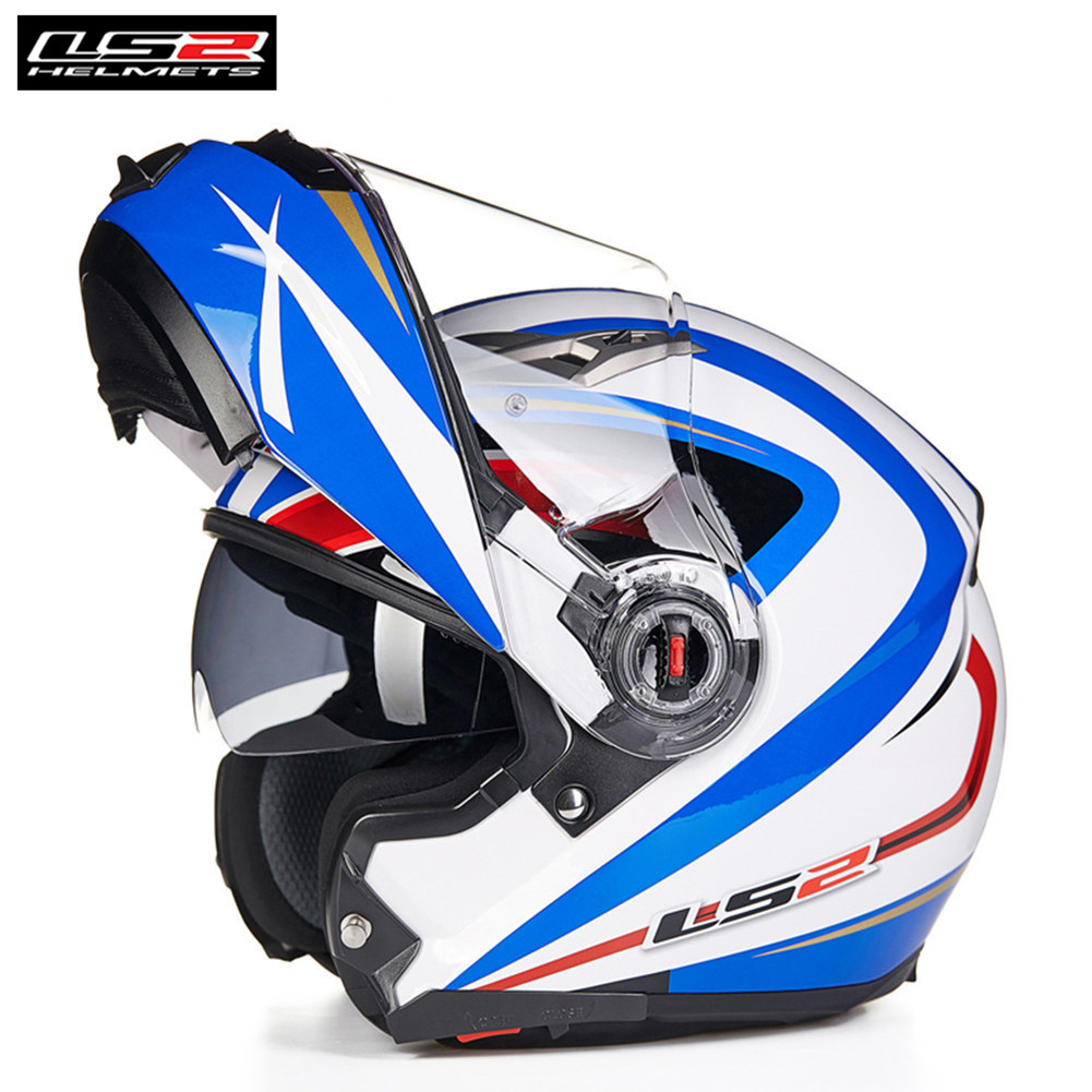 LS2 FF370 Modulaire Filp up Moto Casque Intégral Racing Scooter Casco Moto Capacetes de Motociclista Double Visières