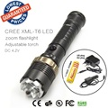 U10 2000 Lumens Zoomable LED Flashlight Torch Waterproof Zoom CREE XML T6 LED Flash Light + 18650 Battery+Charger