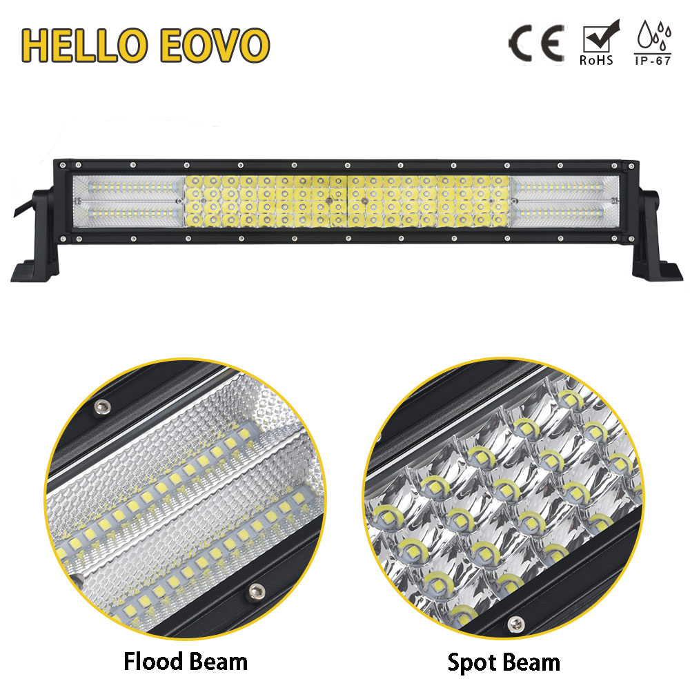 HELLO EOVO LED Bar 4 Rows 22 inch LED Light Bar for Work Indicators Driving Offroad Boat Car Tractor Truck 4x4 SUV ATV 12V 24v new arrivals 20 inch 128led car work light 4 rows 384w led bar combo off road driving lamp