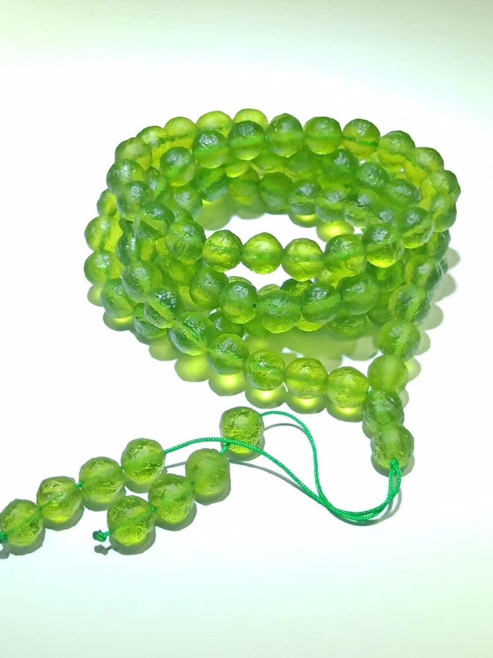 8mm Green GEM MOLDAVITE Meteorite Impact Glass 108 Beads Bracelet