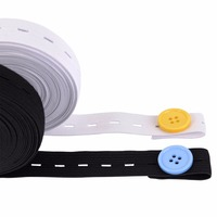 20mm x 30meters/roll Elastic Bands Spool Sewing Band Flat Elastic Cord with Buttonhole