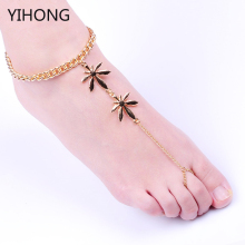 2017 new fashion jewelry Gold Maple toe sandals Anklet