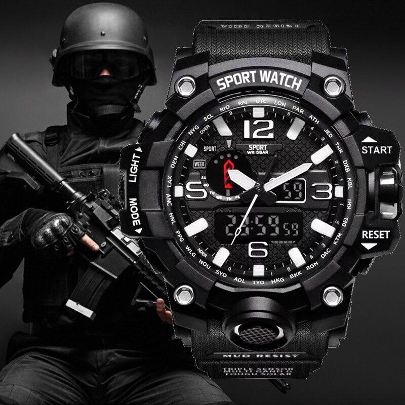 G estilo choque relógios homens militar do exército relógio masculino reloj led digital esportes relógio de pulso presente analógico automático masculino