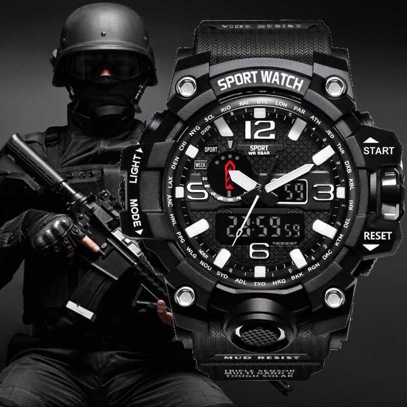 グラムスタイル衝撃腕時計男性ミリタリーアーミーメンズウォッチリロイ Led デジタルスポーツ腕時計男性ギフトアナログ自動腕時計男性