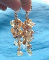 8mm Champagne Reborn Keshi Baroque Freshwater Pearl Crystal Earring 14k Gold
