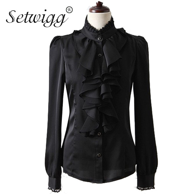SETWIGG Spring Women Long Sleeve Flounced Collar Shirts Vintage Ruffles Buttons Stand Collar Slim Satin Blouses OL Top Shirt