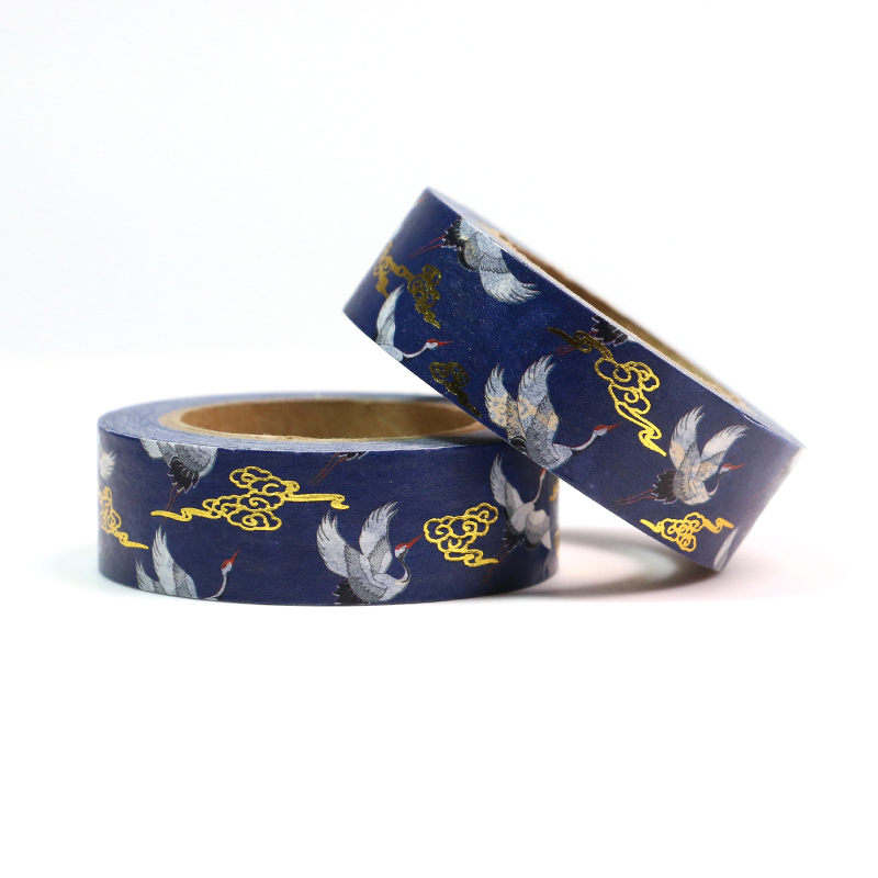 NEW Foil Auspicious Cloud & White Crane Paper Sticky Adhesive Chinease Pattern Washi Tape Stationery School Supplies