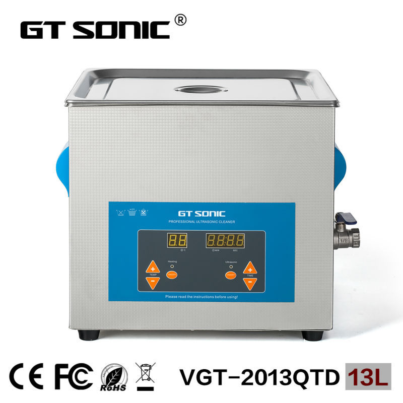 GT SONIC industrial ultrasonic cleaner  nozzle 13L China VGT-2013QTD with free basket ultrasonic injector cleaning machine