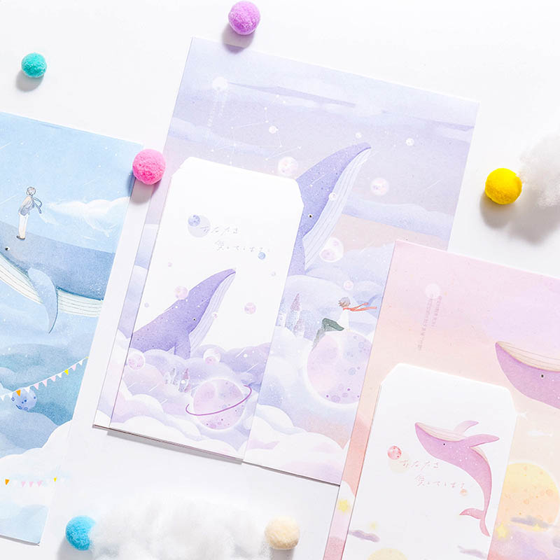 3 Envelopes+6 Letter Papers Dream Whale Paper Envelope Set Cute Forest Writing Paper Greeting Card Stationary Kids Festival Gift