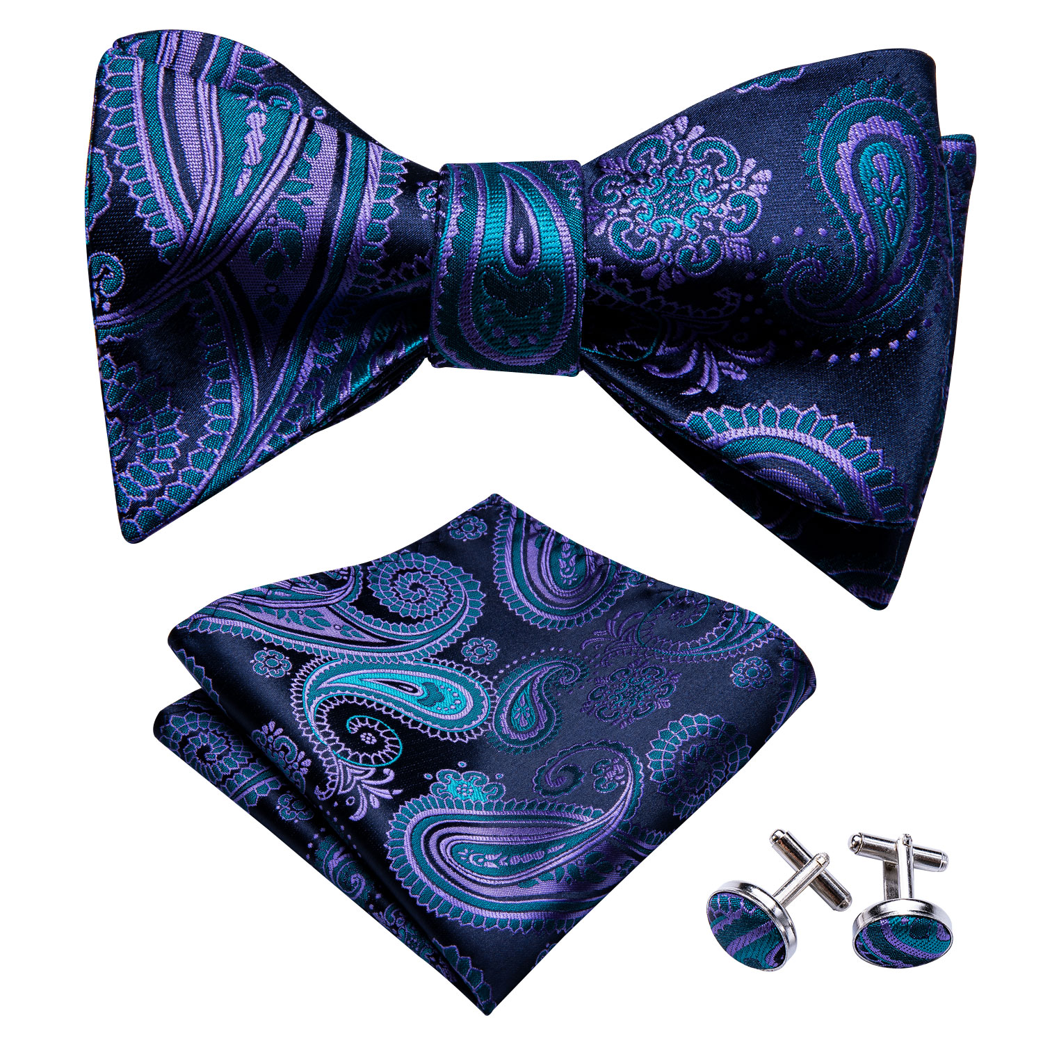 Self Bow Tie For Men Silk Butterfly Men Tie Blue Purple Paisley Hanky Cufflinks Suit Collar Removable Necktie Barry.Wang LH-1015