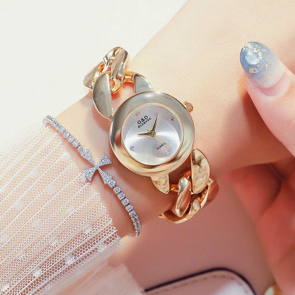 GLE&VDO Women Quartz Wristwatch Luxury Gold Tone Bangle Bracelet Ladies Dress Watches Female Clock Designer Watch Reloj Mujer