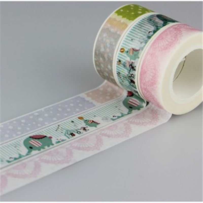 1.5cm*10 M New Elephant Fireworks Dot Printing Japanese Washi Tape Office Adhesive Scrapbooking Tools Kawaii Decorative Great Soft And Antislippery
