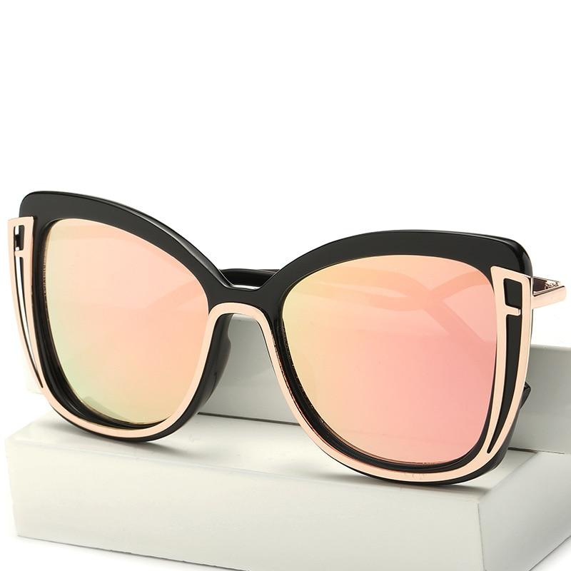 OOBON 2017 Fashion Cat Eye Sunglasses For Women Vogue Female Steampunk Cateye Sun Glasses Flat Plane Mirror Sunglasses UV400