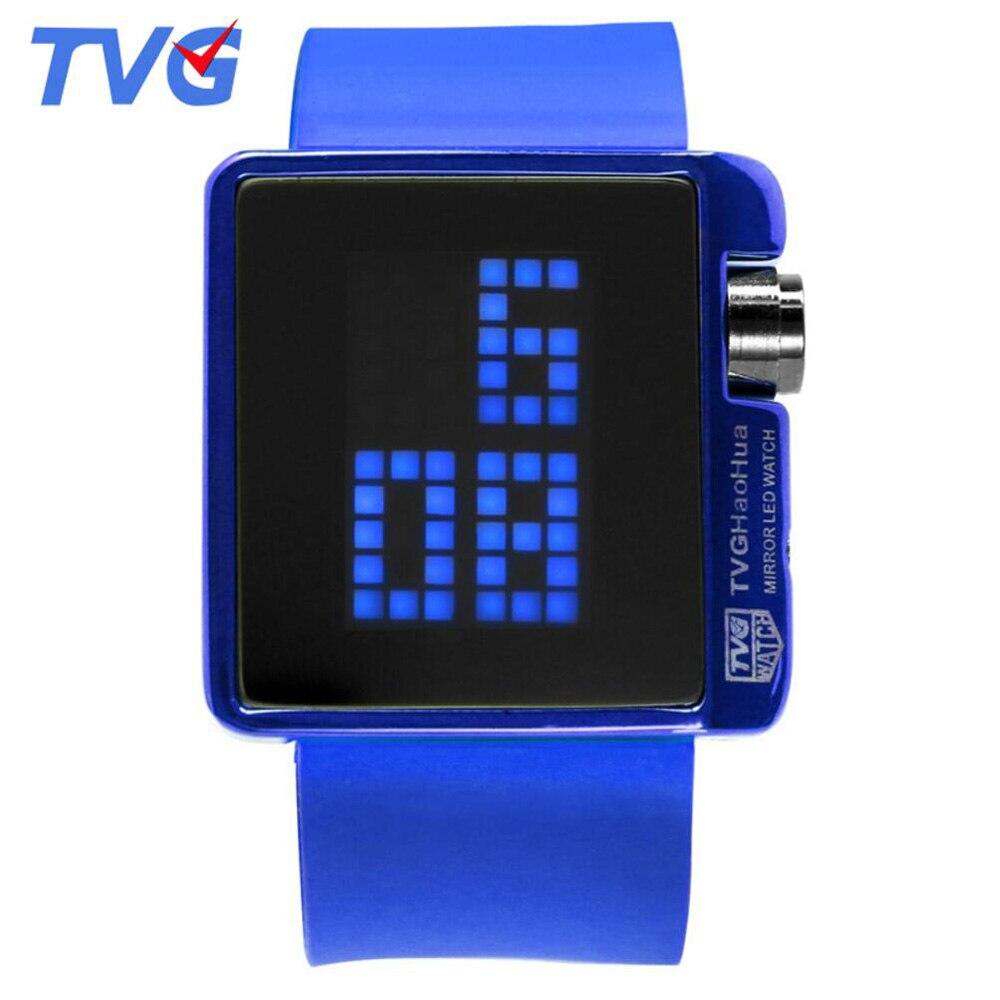 22b17db8ce0 TVG Led שעונים גברים ספורט אלקטרוני סיליקון רצועת שעון ילדי שעון קריקטורה  דיגיטלי תצוגת LED לילדים
