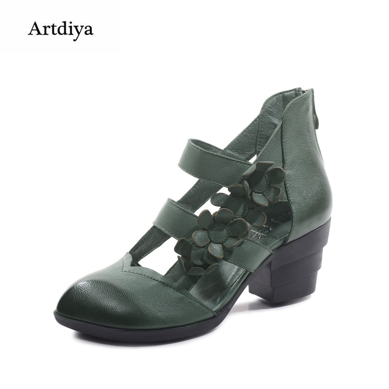 Artdiya Women's Shoes Handmade Genuine Leather Original High Heels Hollow Out Pointed Toe Comfortable Sandals Size 32-42 artdiya original 2018 new retro thick heels women sandals genuine leather handmade comfortable hollow high heels sandals 563 7