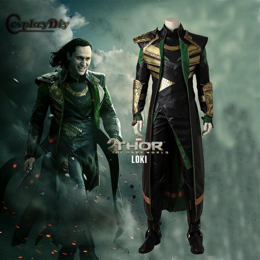 Cosplaydiy Superhero Avengers Thor the dark world Cosplay Loki Cosplay Costume Adult Men Halloween Outfit Custom Made J