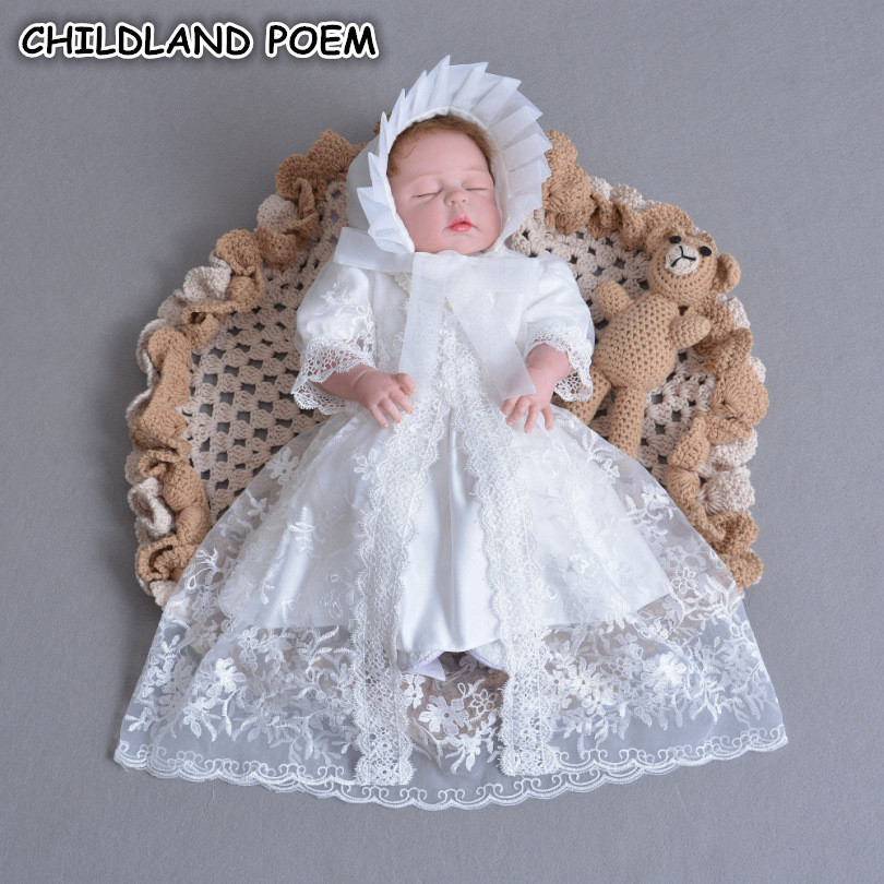 Baby Christening Gowns 1 Year Birthday Princesss Baby Girls Dress Party Wedding Baby Dress Lace Baptism Dress vestido infantil