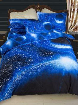 3/4Pcs Bedding Set Trendy Creative 3D Space Galaxy Pattern Comfy Supple Duvet Cover Set