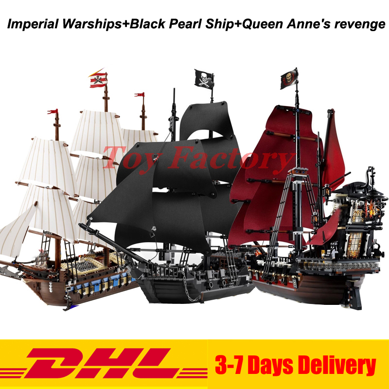 LEPIN 22001 Imperial Warships  + 16006 Black Pearl Ship + 16009 Queen Anne's revenge Pirates Series Toys Clone 10210 4184 4195 lepin 22001 imperial warships 16006 black pearl ship model building blocks for children pirates series toys clone 10210 4184