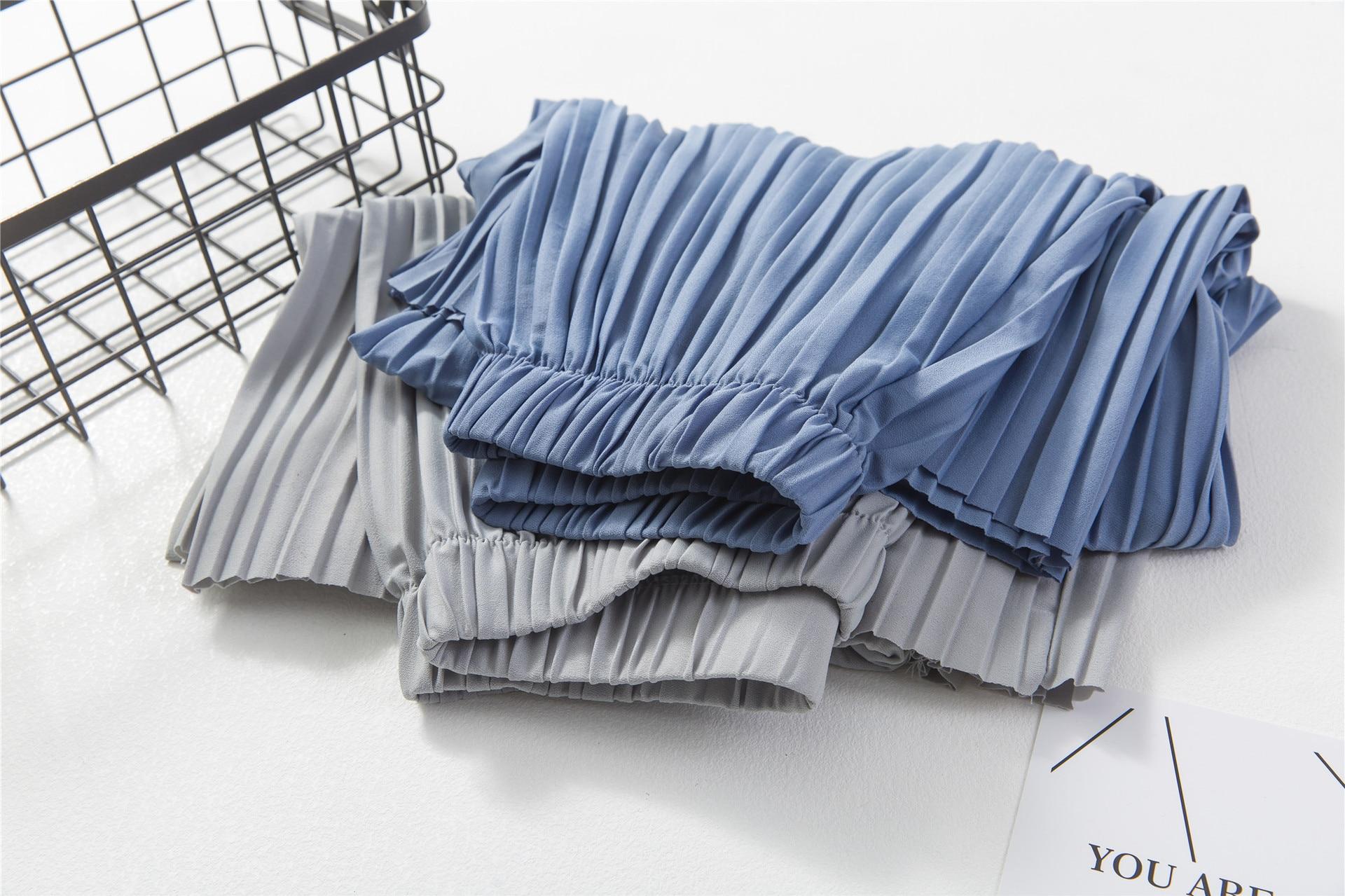 2017 Lebar Kaki Celana Pantalones Mujer Femme Ete Tinggi Pinggang Musim Panas wanita Celana Longgar 3 4 Celana Panjang Sutra Anchos De La Pierna Bell di
