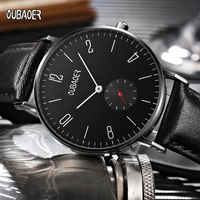 OUBAOER Mens Watches Top Brand Luxury Leather Strap Business Date Sport Military Army Male Clock Wrist