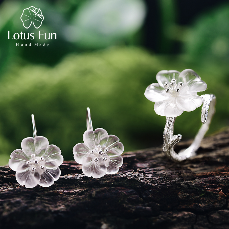 Lotus Fun Real 925 Sterling Silver Handmade Natural Designer Fine Jewelry Flower in the Rain Fashion