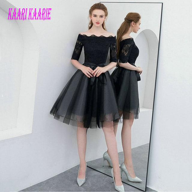 009017e29 Elegant Black Prom Dresses Short 2018 Sexy Party Dress Scoop Tulle Lace  Half Sleeve Zipper Knee Length Women Evening Gown Prom. Price: