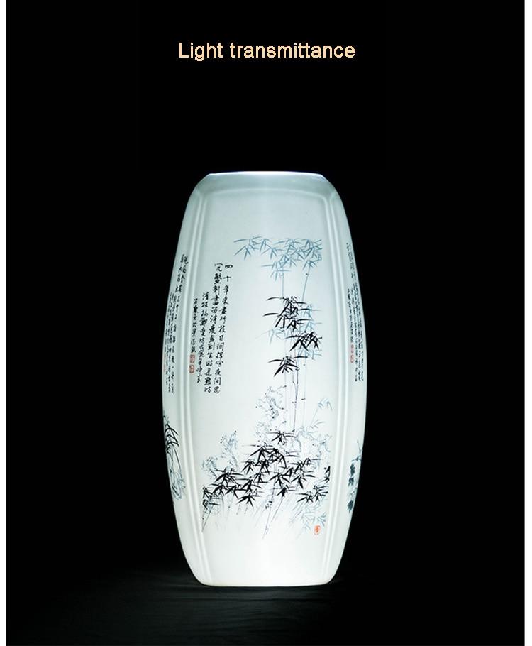 Tetragonal plum orchid bamboo chrysanthemum porcelain vases Jingdezhen Antique Chinese decorations  flower arranging vase vase