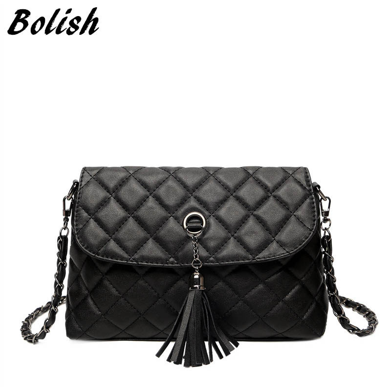 Bolish New Style Retro minimalista Crossbody táska Fashion Small Women válltáska Tassel Women Messenger Bag