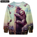 SexeMara 2017 Spring Autumn Sloth 3D Print Sweatshirt Fashion All-Match Casual Sudaderas Cartoon Kawaii Slim Youth Pullover G171