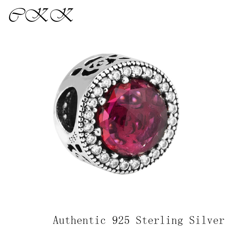 Authentic 925 Sterling Silver Belle's Radiant Rose Beads With Cerise Crystals & Clear CZ Fit Bracelets DIY Fine Jewelry PF529