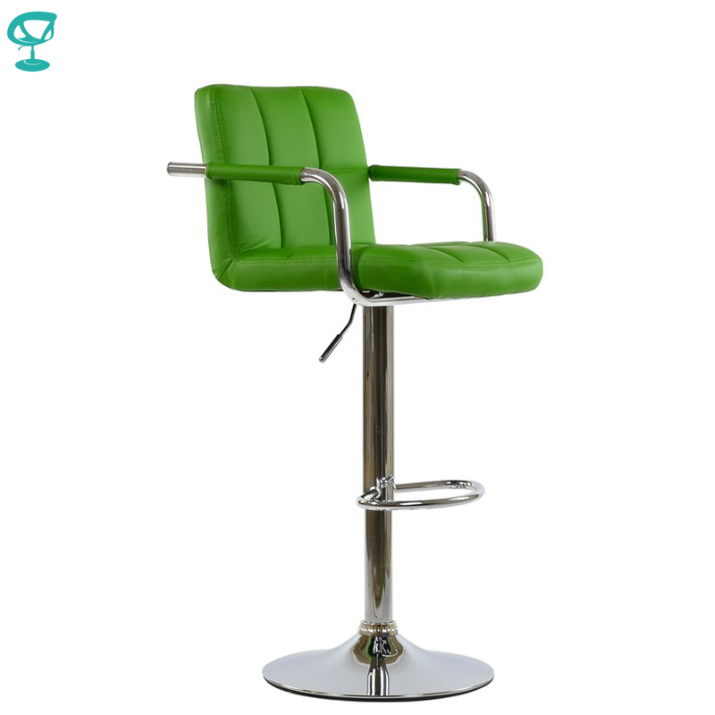 94992 Barneo N-69 Leather Kitchen Breakfast Bar Stool Swivel Bar Chair High Stool Green Color Free Shipping In Russia