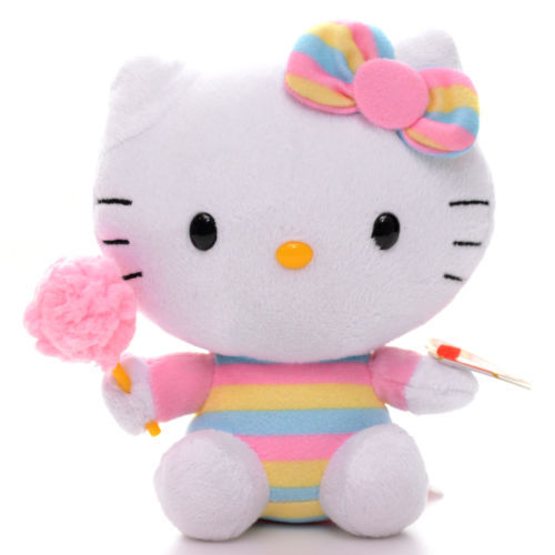 Cute TY Colorful Hello Kitty Cat Cotton Candy Plush Collection Doll Classic  Toy 6   db90039a2cb8