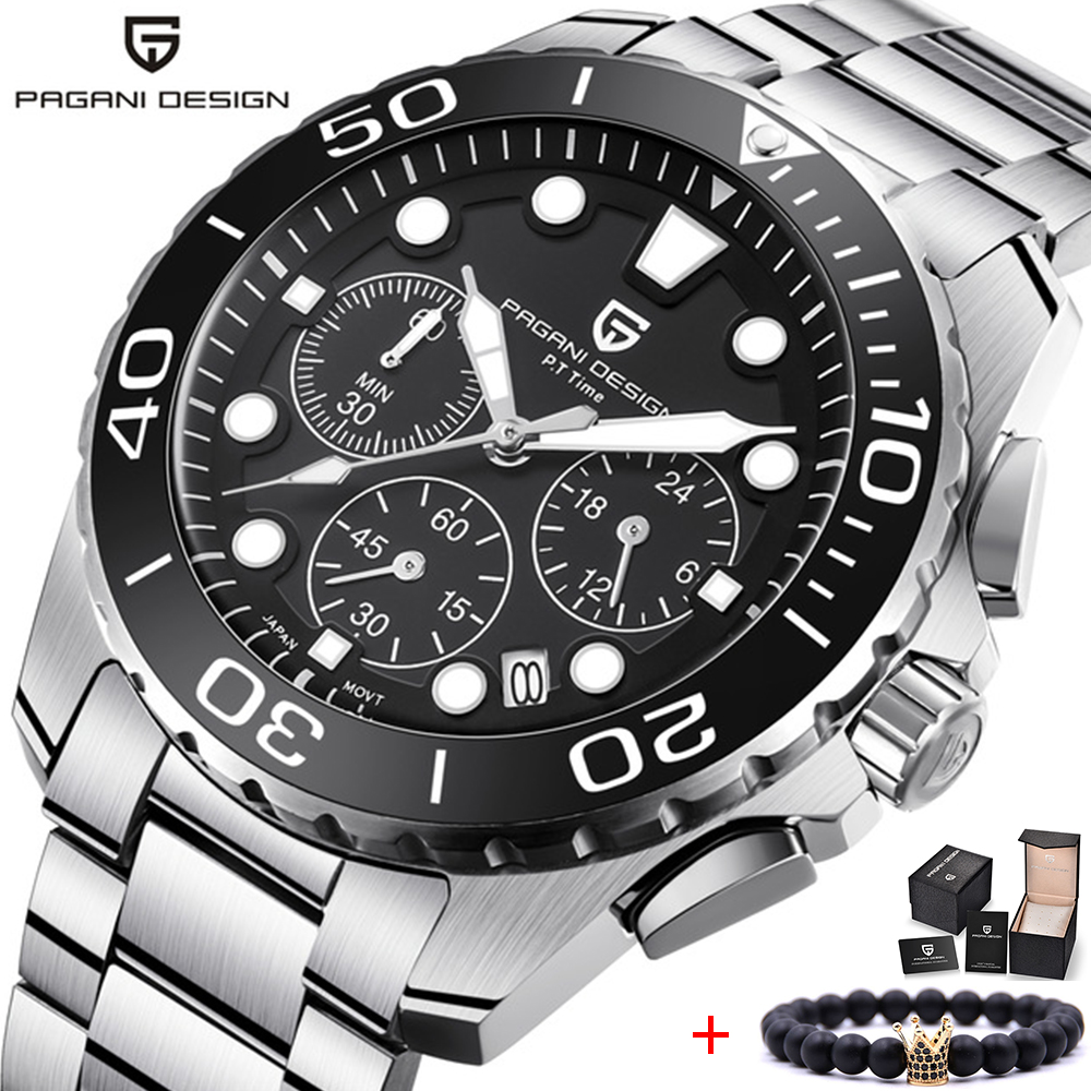 лучшая цена PAGANI DESIGN Watch Men Top Brand Luxury Quartz Watch Chronograph Watch Shockproof Sports Military Army Waterproof Wristwatch