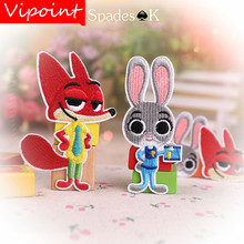VIPOINT embroidery rabbit fox patches cartoon animal badges applique for clothing YX-233