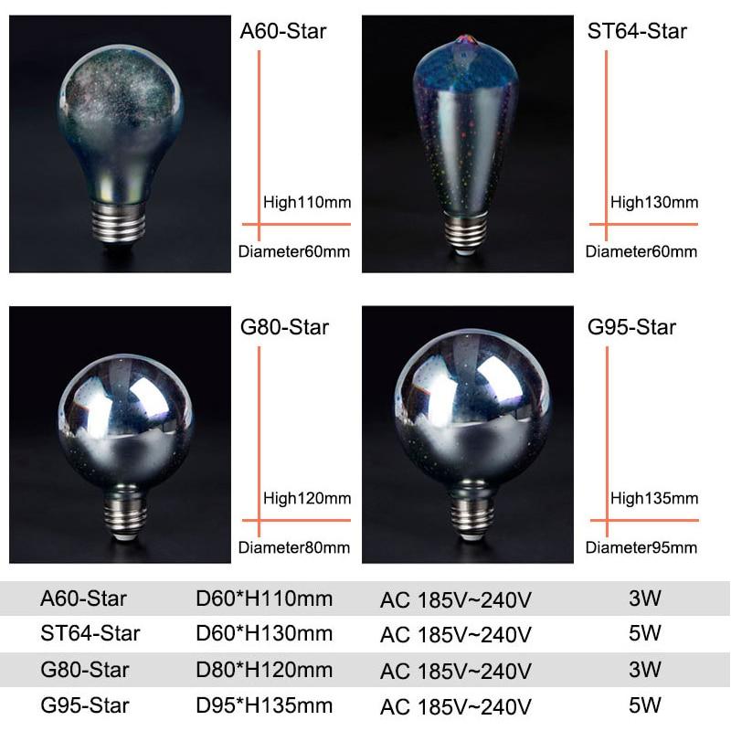 3D Led Bulb Star E27 Vintage Edison Night Light ST64 A60 G95 LED Lamp 110V 220V Retro Glass Lampara Ampoule Christmas in LED Bulbs Tubes from Lights Lighting
