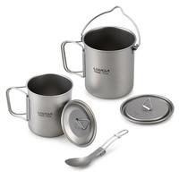 Lixada Titanium Lightweight 3 Pieces Set Outdoor Water Mugs Pot Folding Spork Drinkware for Outdoor Camping Hiking Backpacking