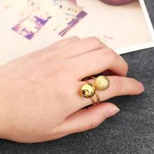 Adjustable Big Metal Ball Rings For Women Silver Gold-color Ring Fashion Jewelry Cute Gift Bijoux