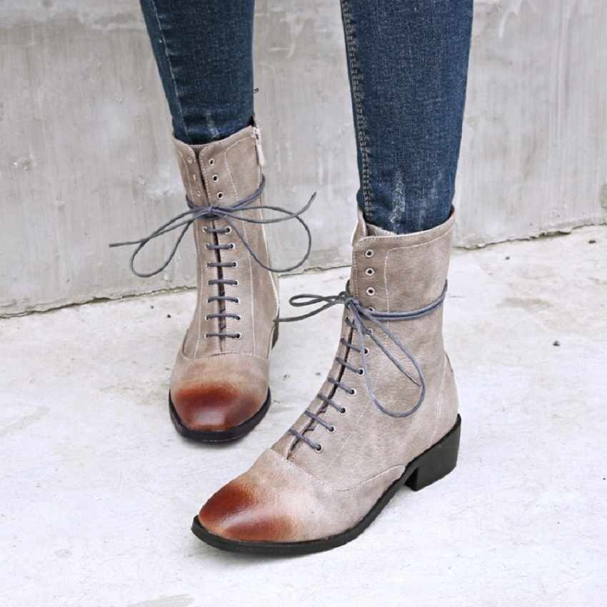 SALCXOI new winter casual martin boots women short plush ladies shoes leather scrub square heel T-tied riding boots woman &X19