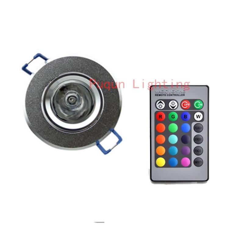 Купить с кэшбэком 3W LED RGB LED Light Spot Downlight with IR Remote Control Pop Lamp Color Changing AC 85-265V 16 colors changing LED Bulbs